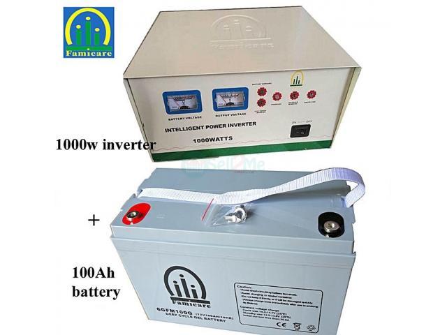 Famicare Inverter 1000w 1pc + Battery100Ah 1pc - 1/1