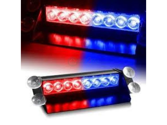 8 LED Visor Dashboard Emergency Strobe Lights - Blue & Red BY HIPHEN SOLUTIONS - 1/1