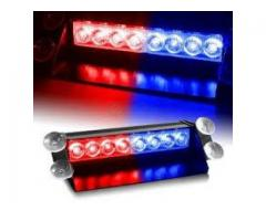 8 LED Visor Dashboard Emergency Strobe Lights - Blue & Red BY HIPHEN SOLUTIONS